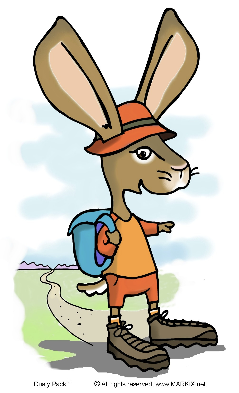 Dusty Pack the hiking, backpacking jackrabbit