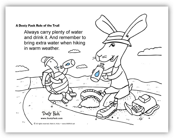trail etiquette coloring pages | Dusty Pack (tm), the Hiking, Backpacking Jackrabbit and ...